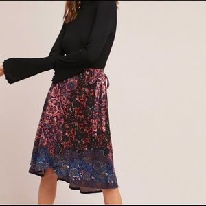 Maeve Anthropologie faux wrap skirt